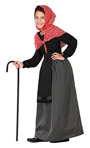 ATOSA 26919 - Alte Dame, Mädchen, Größe 128, schwarz/rot