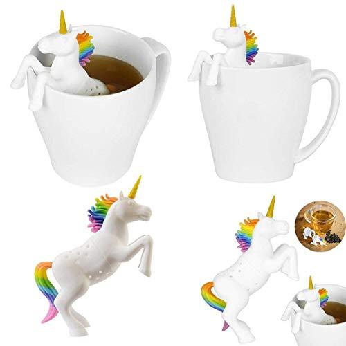 dryujdytru Sicher und Wiederverwendbar Silikon Tee Sieb Tee-Ei Verwendung mit Teetasse, Becher und Teekanne für Heim Büro Küche, Esszimmer & bar Werkzeug - Einhorn - Bar Tee-sieb