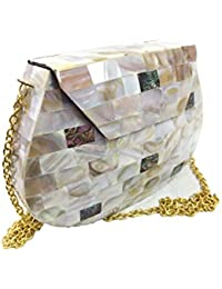 White Mother Of Pearl Clutch MOP Shell Bag Metal Purse Stone Wallet Sling Bag Clutch Boho Studded Clutch Tribal...