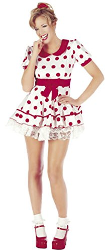 Für Frauen Dolly-kostüm (Damen Abendkleid Polka Dot 'Fräulein Dolly' Kostüm-Ausstattung (groß, Miss Dolly))