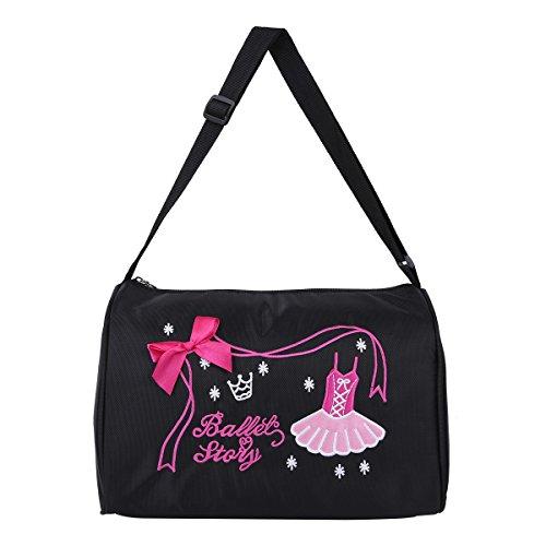 Mädchen Ballerina Ballett Tanz Tasche Handtasche Umhängetasche Seesack mit Reißverschluss Einheitsgröße Schwarz One Size (Ballerina Kleidung Für Mädchen)