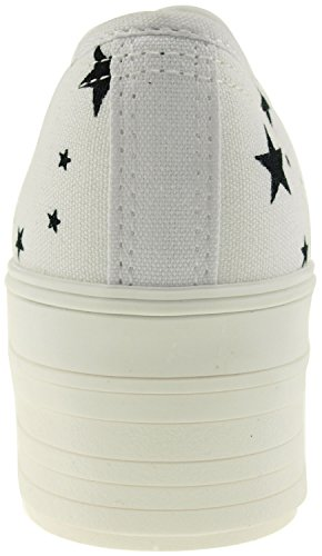 Maxstar C50 6 trous plate-forme basse table Trendy Chaussures-baskets Blanc - Star-White