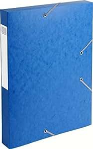 Exacompta Lot de 10 Chemises 3 rabats et élastique Cartobox dos de 4 cm en carte lustrée 5/10e 24x32 cm Bleu
