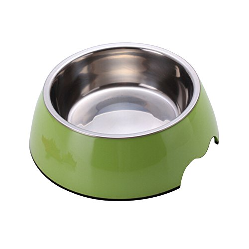 UKDEALS Small Green 2 in 1 Melamine Plastic Stainless Steel Non Skid Dog Puppy Cat Pet Bowl Pet Feeding Watering Supplies
