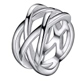 Simple joyería Hermosa Tendencia Moda Placa de Plata clásico Retro Anillo Hueco