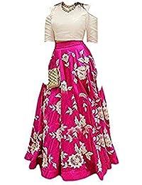 d9905825a3 Vihat Fashion Girl's Cotton Silk Semi-Stitched Lehenga Choli (Pink_8-12  Years_Free Size