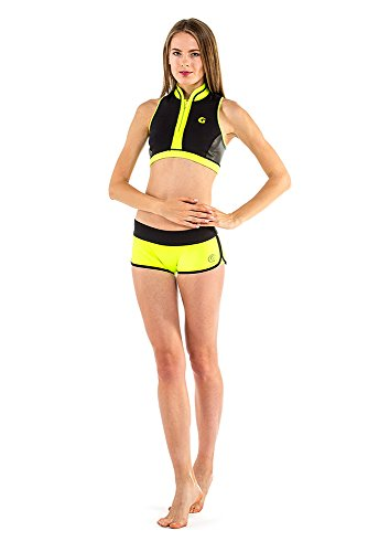 glidesoul Damen 0,5mm Bikini Schwarz/ Zitrone