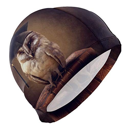 Gebrb cuffie da nuoto,cuffie da bagno,cuffia piscina men's swim cap art painting animal owl anti-slip waterproof comfy swimming caps