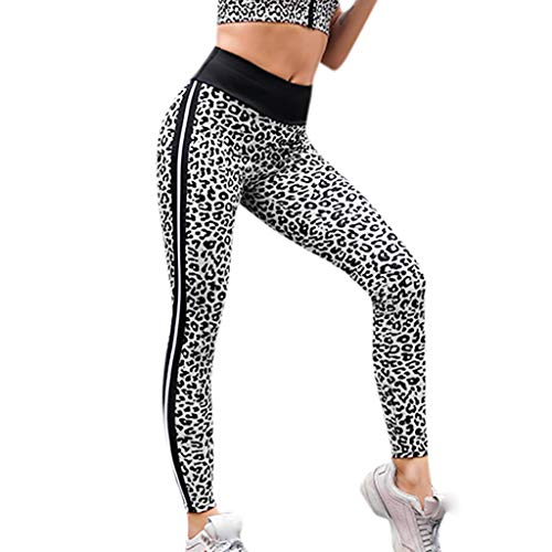 hahashop2 Damen Sport Leggings Damen Sporthose Yogahose Laufhose Tights Fitnesshose Yoga Leggings für Sexy DamenDer Leopard der Frauen, der gestreifte Yogahosen näht -