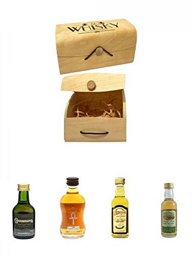 1a Whisky Holzbox mit Flexdeckel groß + Connemara Peated Single Malt 5 cl + Isle of Jura Schottland Single Malt Superstition 5 cl + Kilbeggan Irish Whiskey 5 cl + The Tyrconnell Irish Single Malt Whiskey 5 cl