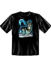 Indianistik T-Shirt Wolf Moon Silhouette in schwarz
