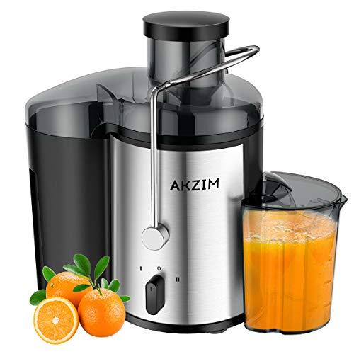 Entsafter AKZIM Zentrifugaler Entsafter für Obst und Gemüse,Breiter Mund Edelstahl Entsafter mit rutschfesten Füßen,2 Geschwindigkeitsstufen, Anti-Tropf, Überhitzungsschutz, BPA-frei