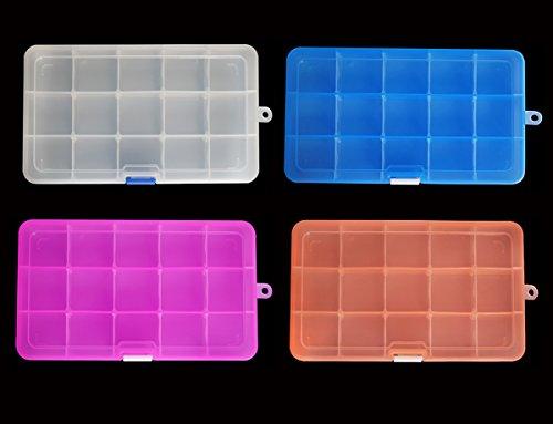 confronta il prezzo DUOFIRE Scatola in Plastica Stoccaggio Scatole Divisori Mobili Organizzatore Contenitore per Dell'orecchino Strumento Accessori (15 scomparti x 4, 4 colori) miglior prezzo