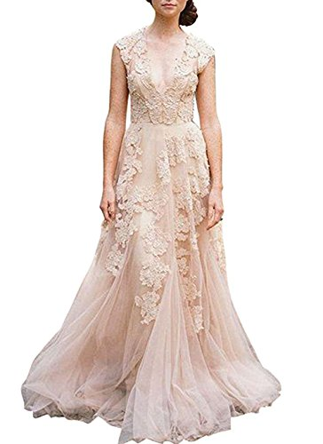 BRLMALL Women's Vintage Cap Sleeve Appliques Tulle Wedding Dresses Bridal - Cap Sleeves Bridal