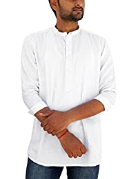 5322ff4cd REBANTA White Dotted Pure Cotton Mens Shirt Kurta Style Full Sleeves