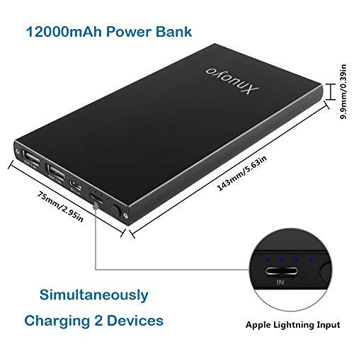 Portátil Batería Externa 12000mAh Power Bank Cargador Portátil con Ultra Alta Capacidad Powerbank con Puertos Dobles y Linterna LED para Todos los Telefonos
