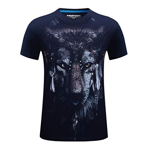 Fascino-M◕‿✦ Männer 3D Druck Lustige Grafik T-Shirt Sommer Casual Kurzarm Shirt Crew Tees Top Übergrößen S-6XL -