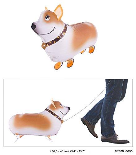Folienballon braun weißer Hund mit Halsband, 59cm X 40 (Ballon Hund Kostüm)