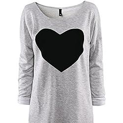 Rcool Moda Mujer Impresión del corazón Camiseta de cuello redondo con mangas largas Tops (L, Gris)