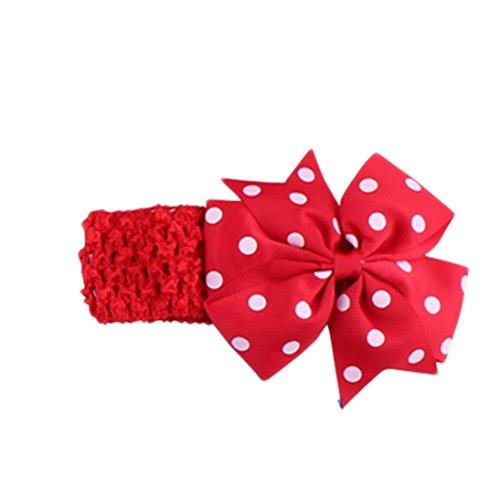 Handlife® Bébé Bandeau Mignon Fille Point Vague Fleur Nœud à deux boucles Cheveux Accessoires (Rouge)