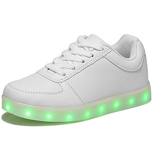 HUSK'SWARE LED 7 Colori Cambi- Sneaker Scarpe Bambini Bambina Unisex Collo Basso Tennis (EU 37, Bianca)