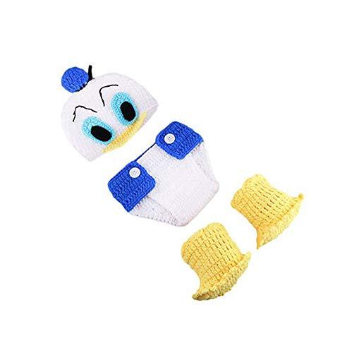 3 PCS Säugling Neugeborenes Baby Mädchen Crochet Kostüm Outfits Fotografie Requisiten Nette Donald Duck Outfit Hut+Hose+Schuhe 0-6 Monate (Donald Duck Mädchen Kostüm)
