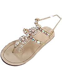 51a45a08d3487c Challen Women s Beach Sandals Boho Rhinestone Flip Flops Flat Low Heel  Ankle Strap Thongs Shoes