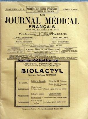 JOURNAL MEDICAL FRANCAIS (LE) [No 2] du 01/02/1934