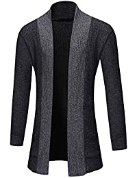 6dc00156b580 Mens Knitted Cardigan Sweaters Full Open Front Cardigans Sweater Solid  Color Medium Long Knit Jacket Outwear
