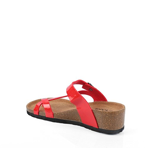 Ideal Shoes – sandali ortopedici Kahina Rosso