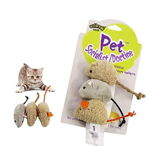 Legendog 3PCS Katze Mäuse Spielzeuge Beißen Beständig Plüsch Katze Interaktiv Spielzeuge