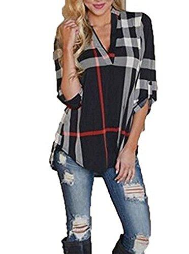Donna Camicia Elegante A Quadri Taglie Forti Donne Estivi T Shirt A 3/4 Braccio Bluse Camicetta Casuale Tops Scollo V Allentato Camicie Orlo Irregolare Tunica Cime Maglietta Nero
