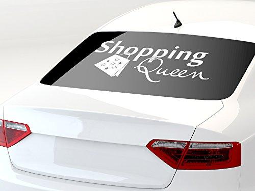 GRAZDesign 740301_70x31_041G Autoaufkleber Auto Heck Aufkleber für Heckscheibe Spruch Shopping Queen Sterne (70x31cm//041 Pink)