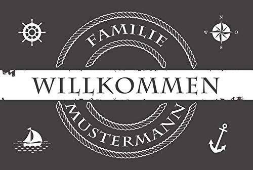 Eule-Design Personalisierte Fußmatte Heimathafen mit Namen Ihr Geschenk für Familie Paare Männer Frauen (Grau, 60x40)