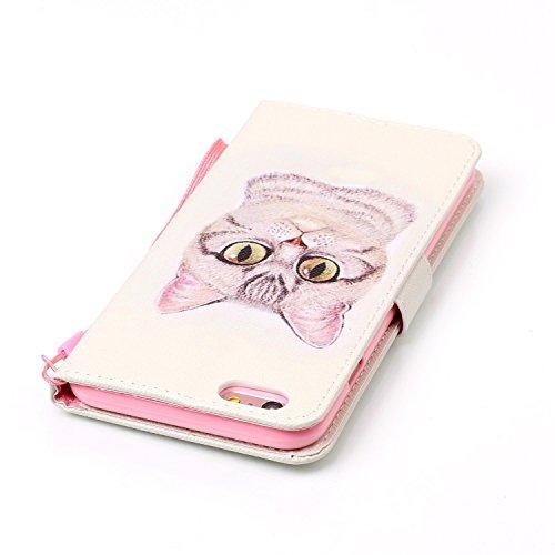 Custodia iPhone 6 Plus, Cover iPhone 6S Plus, ISAKEN Flip Cover per Apple iPhone 6 Plus(5.5), Elegante borsa Bookstyle Design Flip Caso in Sintetica Ecopelle PU Pelle Protettiva Portafoglio Wallet Ca Gatto