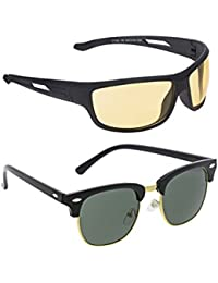 Vast Combo Of 2 Day And Night Vision Clubmaster And Wrap Around Unisex Sunglasses...