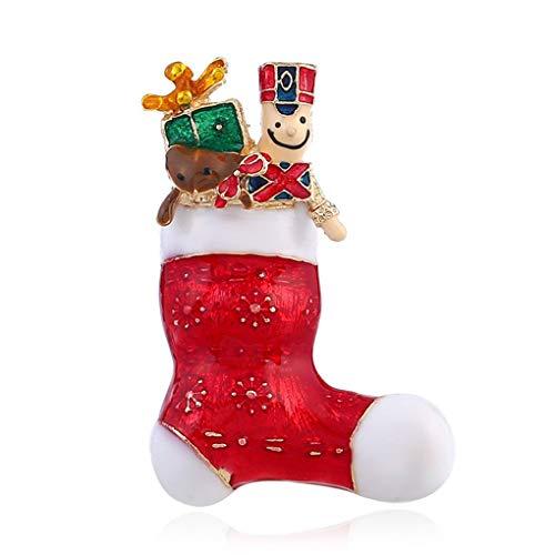 Demino Frohe Weihnachten Socke Brosche Legierung Kleidung Flecken Painted Legierung Weihnachten Abzeichen Weihnachten Abzeichen Frauen-Mädchen-Schmuck Souvenirs