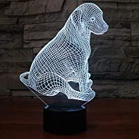 New 3D Dog Anima Night Light Illusion Lamp 7 Color Change LED Touch USB Table Gift Kids Toys Decor Decorations Christmas Valentines Gift