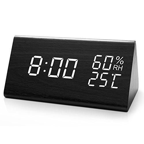 HAVIT LED Digitaler Wecker Uhr Kinder mit Datum/Woche/Temperatur/Feuchtigkeit, 12/24H und 3 Einstellbare Helligkeit, Modern Holz Tischuhr mit 3 Weckzeiten (Schwarz)