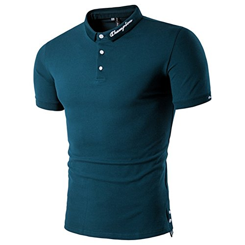 BicRad Herren T-Shirts Stehkragen Poloshirt Slim Fit mit Knopfleiste (T Blau, L)