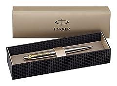 Idea Regalo - Parker - Confezione regalo con penna a sfera a punta media e ricarica, acciaio INOX, finiture dorate, colore: blu