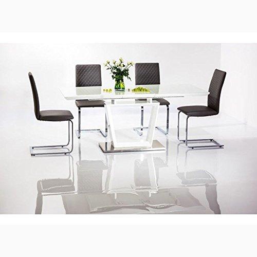 JUSTyou Lauren Table à rallonge Blanc 76 x 90 x 160-220 cm