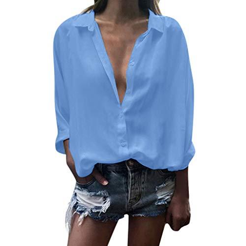 kolila Damen Shirts Hemd Lässige Langarmshirts Oberteile Tiefem V-Ausschnitt Revers Button-Down Bluse Tops Tunika Bubble-top-legging-set