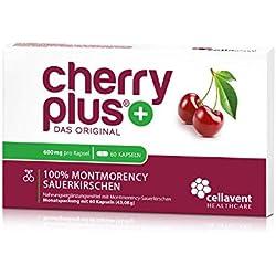 Cherry PLUS aus der Montmorency Sauerkirsche (600mg): maximale Konzentration 50:1 - frei von jeglichen Zusätzen - schonende Herstellung für maximale Qualität - 60 Kapseln (2-Monatspackung) - vegan