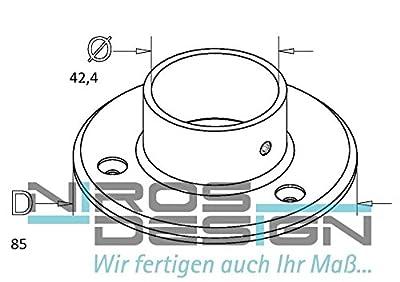 Wandflansch / Bodenflansch für Ø 42,4 mm Rohr aus AISI304 von NIROS Design - Du und dein Garten