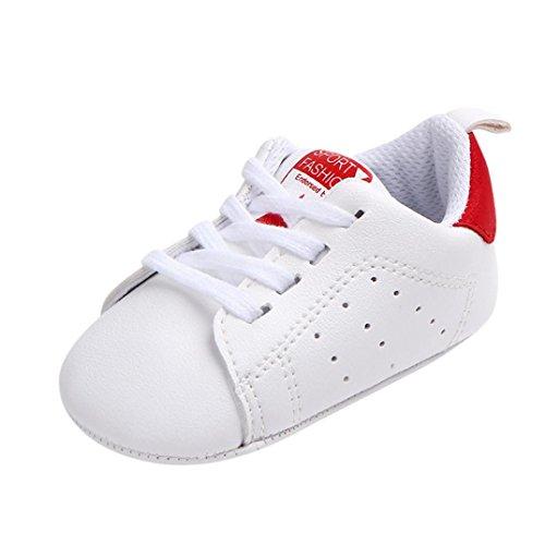 Sterne Drucken Freizeitschuhe Kleinkind Kinder, DoraMe Neugeborenes Baby Junge Mädchen Sneaker Anti-Rutsch Weiche Sohle Einzelne Schuhe für 3-12 Monate (Age:9~12 Monate/Size:13, Rot) Jordan-schuhe Für Kleinkinder Mädchen