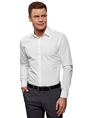 Oodji ultra uomo camicia aderente in cotone, bianco, 40cm / it 46 / eu 40 / s