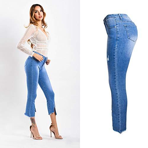 NCAYKL Blau Kalb Länge Dünne Jeans Frauen Frühling Sommer Bestickt Flares Split Flare Denim Streetwear Gebleichte Disco-flare Jeans