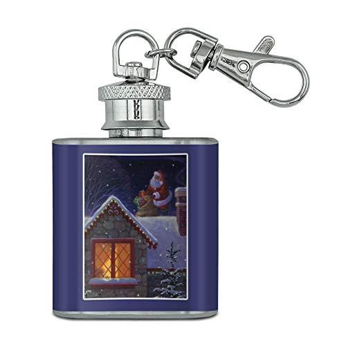 Vacances de Noël Père Noël sur toit en acier inoxydable 28,3 gram Mini Bouteille Porte-clés