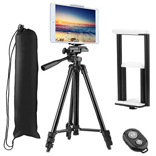 Treppiede Tablet,PEMOTech 50' Pollici Alluminio Cavalletto Treppiedi + [2 In 1]Supporto per Smart phone o Tavoletta e fotocamera + Borsa Da Trasporto Impermeabile compatibile con iPhone X 8/8Plus 7/7Plus 6s/6s Plus 6/6Plus Samsung Galaxy S7/S7 Edge S6/S6 Edge S5 Apple e iPad Pro 9.7' iPad Air2/1 iPad Mini4/3/2/1,Sumsung GalaxyTablet e altri telefoni, compresse e fotocamera-Nero